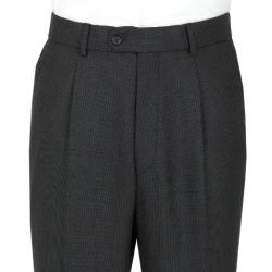 Charcoal Birdseye Single Pleated Front Trouser