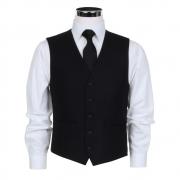 Masonicl Black Herringbone Waistcoat